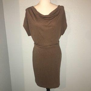Ann Taylor Olive Green Cowl Neck Dress Drape Sleev